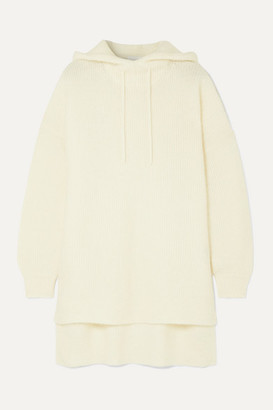 Ganni Ribbed-knit Hoodie - White
