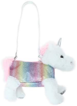 Capelli New York Rainbow Glitter Plush Unicorn Shoulder Bag