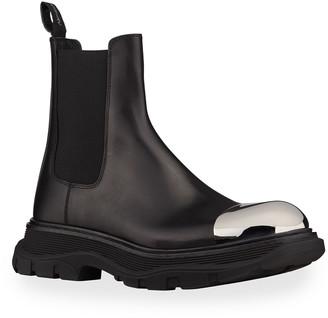 Alexander McQueen Men's Metal Cap-Toe Leather Chelsea Boots