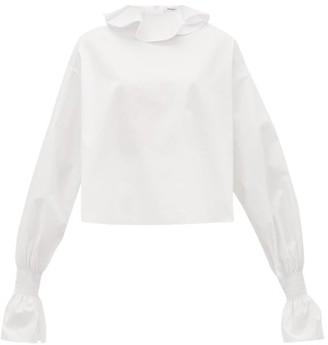 Françoise Francoise - Ruffled-neck Cotton-poplin Blouse - Womens - White