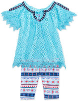 Nannette 2-Pc. Crocheted Cold-Shoulder Top and Leggings Set, Little Girls (4-6X)