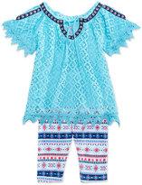 Nannette 2-Pc. Crocheted Cold-Shoulder Top & Leggings Set, Toddler Girls (2T-5T)