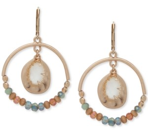 lonna & lilly Gold-Tone Multi-Stone Beaded Orbital Drop Earrings