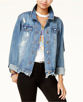 Dollhouse Juniors' Distressed Denim Trucker Jacket