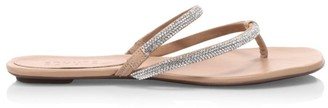 Schutz Marileide Embellished Leather Thong Sandals