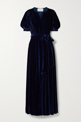 ARoss Girl x Soler Brooke Belted Velvet Maxi Dress - Navy