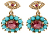 Ileana Makri Diamond, ruby, sapphire & turquoise earrings