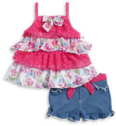 Nannette Baby Girls Baby Girls Butterfly Tunic and Chambray Shorts Set