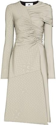 Marine Serre Gathered-Detailing Asymmetric Midi Dress