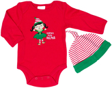 Cutie Pie Baby Red & Green 'Santa's Little Helper' Bodysuit & Beanie - Infant