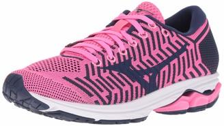 Mizuno Women's Wave Rider 22 Knit Running Shoe pink glo-sodalite blue 6 B US