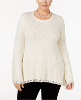 Style&Co. Style & Co. Plus Size Bell-Sleeve Lace Metallic Sweater, Only at Macy's