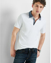 Express chambray collar stretch polo