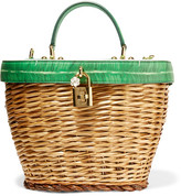 Dolce & Gabbana Wicker And Printed Textured-leather Tote - Green