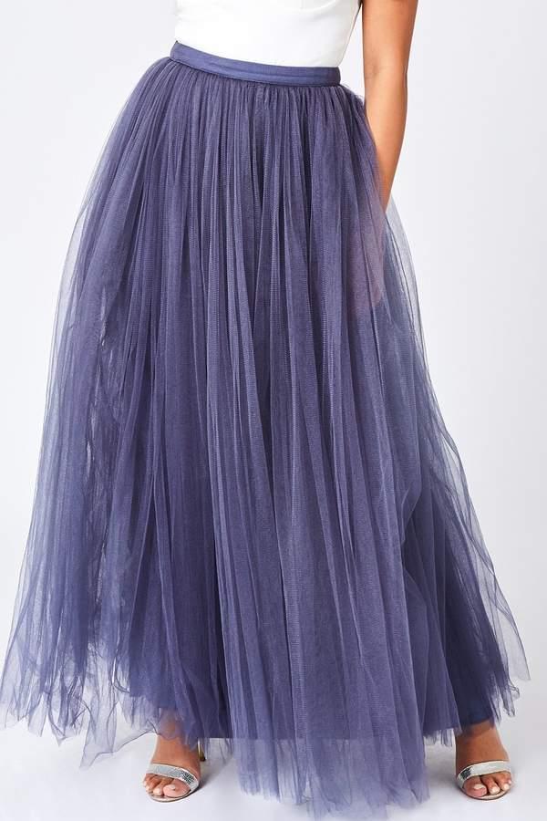 Little Mistress Lavender Grey Tulle Maxi Skirt