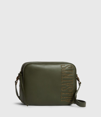 AllSaints Nina Stud Square Leather Crossbody Bag