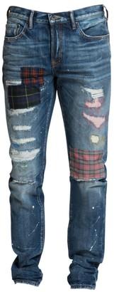 PRPS Le Sabre Slim-Fit Mid-Rise Plaid Patch Jeans