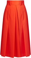 Tibi High-waist stretch-poplin A-line skirt