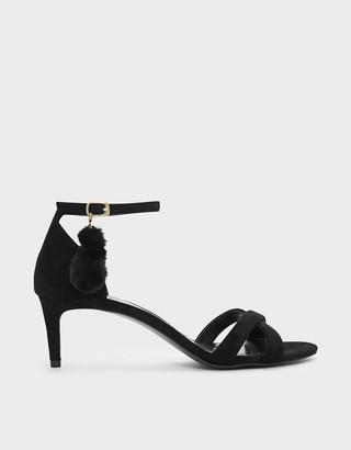 Charles & Keith Pom Pom Detail Criss Cross Heeled Sandals