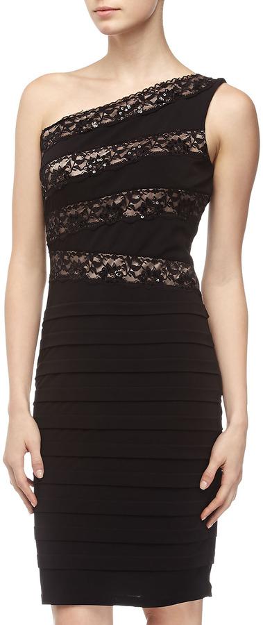 Jax One-Shoulder Lace-Top Dress, Black