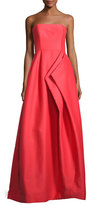 Halston Strapless Pleated Sateen Gown, Poppy