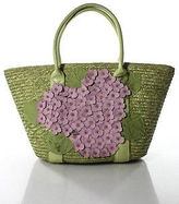 Lulu Guinness Light Green Lavender Straw Flower Detail Tote Handbag NEW