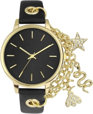 INC International Concepts Inc Women's Chain & Charm Black Faux Leather Strap Watch 30mm, Created for Macy's