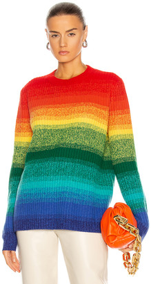 The Elder Statesman Morphe Stripe Relaxed Crew Sweater in Rainbow | FWRD