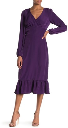 Abound Long Sleeve Ruffle Trim Midi Dress