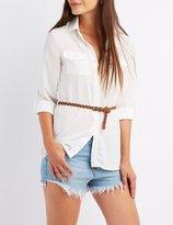 Charlotte Russe Belted Button-Up Pocket Shirt