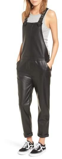 David Lerner Faux Leather Overalls