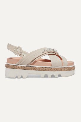 Simone Rocha Embellished Canvas And Jute Platform Sandals - Cream