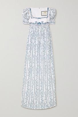 Agua Bendita Pistachio Bead-embellished Embroidered Floral-print Cotton Maxi Dress - White