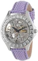 Burgmeister Merida Women's Automatic Watch with Silver Dial Analogue Display and Purple Leather Strap BM520-100B