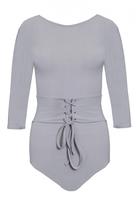Quiz Grey 3/4 Sleeve Corset Detail Bodysuit