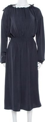 Celine Navy Blue Scoop Neck Full Sleeve Midi Dress M