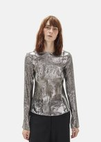 Lemaire Metallic Silk Long Sleeve Top Silver Size: FR 34