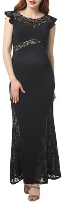 Kimi and Kai Audrey Lace Trim Maternity Gown
