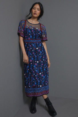 Anthropologie Mehreen Beaded Maxi Dress By in Blue Size 0