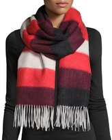 Rag & Bone Wide-Stripe Brushed Blanket Scarf, Fiery Red