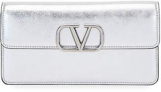 Valentino Garavani VSLING Metallic Leather Wallet on Chain