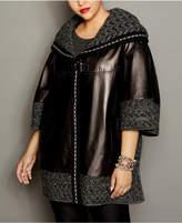 The Fur Vault Knit-Trim Leather Cape