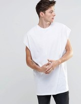 Asos Super Oversized Sleeveless T-Shirt With Dropped Armhole And Raw Edge In White