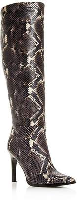 Sigerson Morrison Women's Kailey Snake-Embossed High-Heel Boots