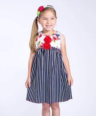 Vanilla Creme Girls' Casual Dresses NAVY-WHITE - Navy Stripe & White Floral Sleeveless Dress - Toddler & Girls