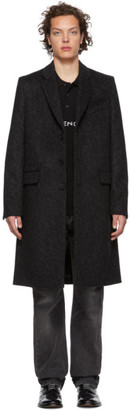 Givenchy Black and Grey Leopard Wool 3BT Trench Coat