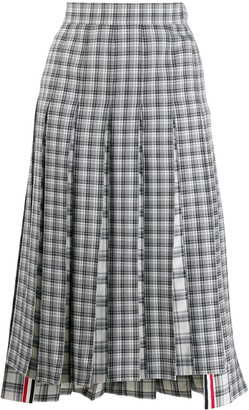 Thom Browne Checked Pleated Skirt