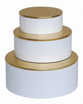 BIDKhome Set Of 3 Round Boxes With Gold Leaf Lacquer Lid
