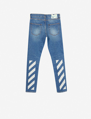 Off-White Brand-embroidered skinny jeans