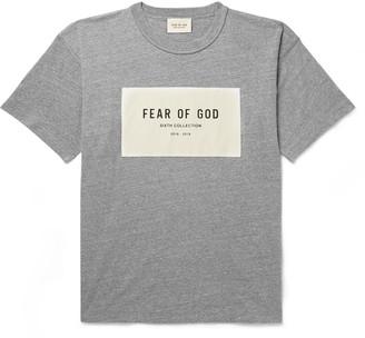 Fear Of God Oversized Logo-Appliqued Melange Cotton-Blend Jersey T-Shirt